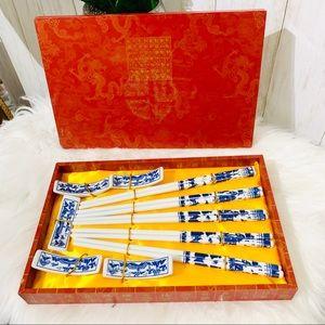 Other - Chinese Blue Porcelain Chopsticks Set